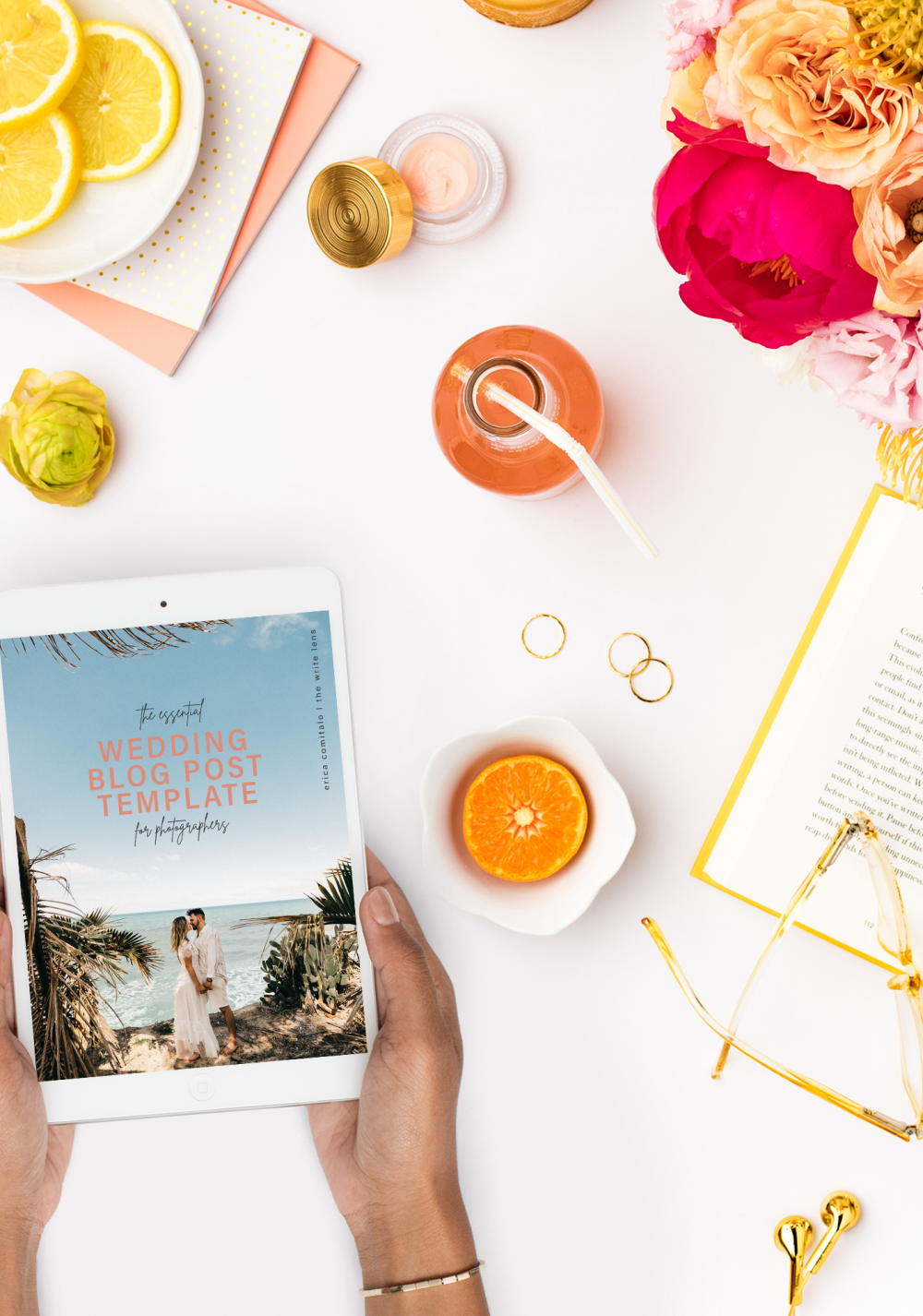 introducing the wedding blog post template for photographers being used
