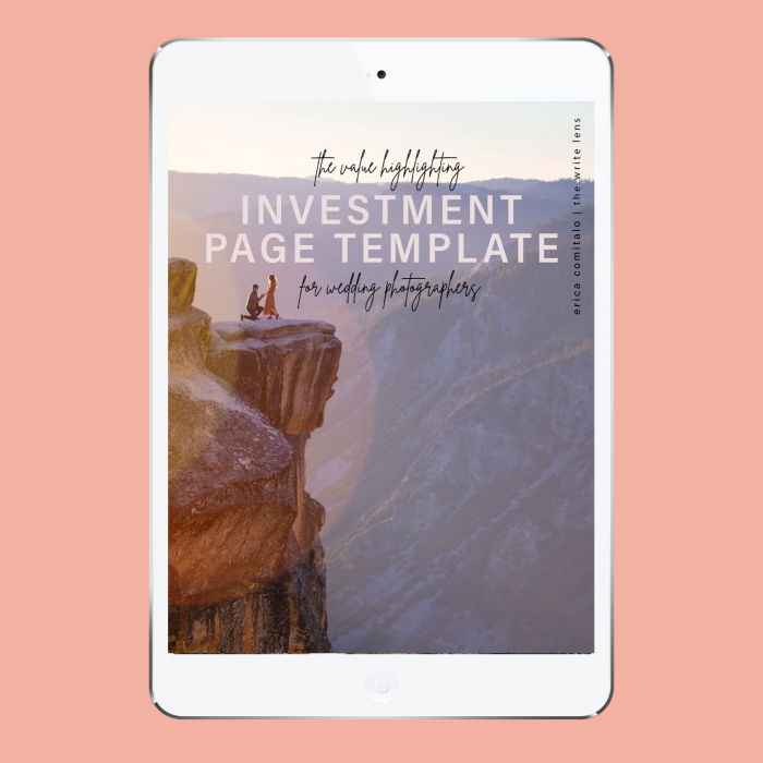 The Investment Page Template For Photographers