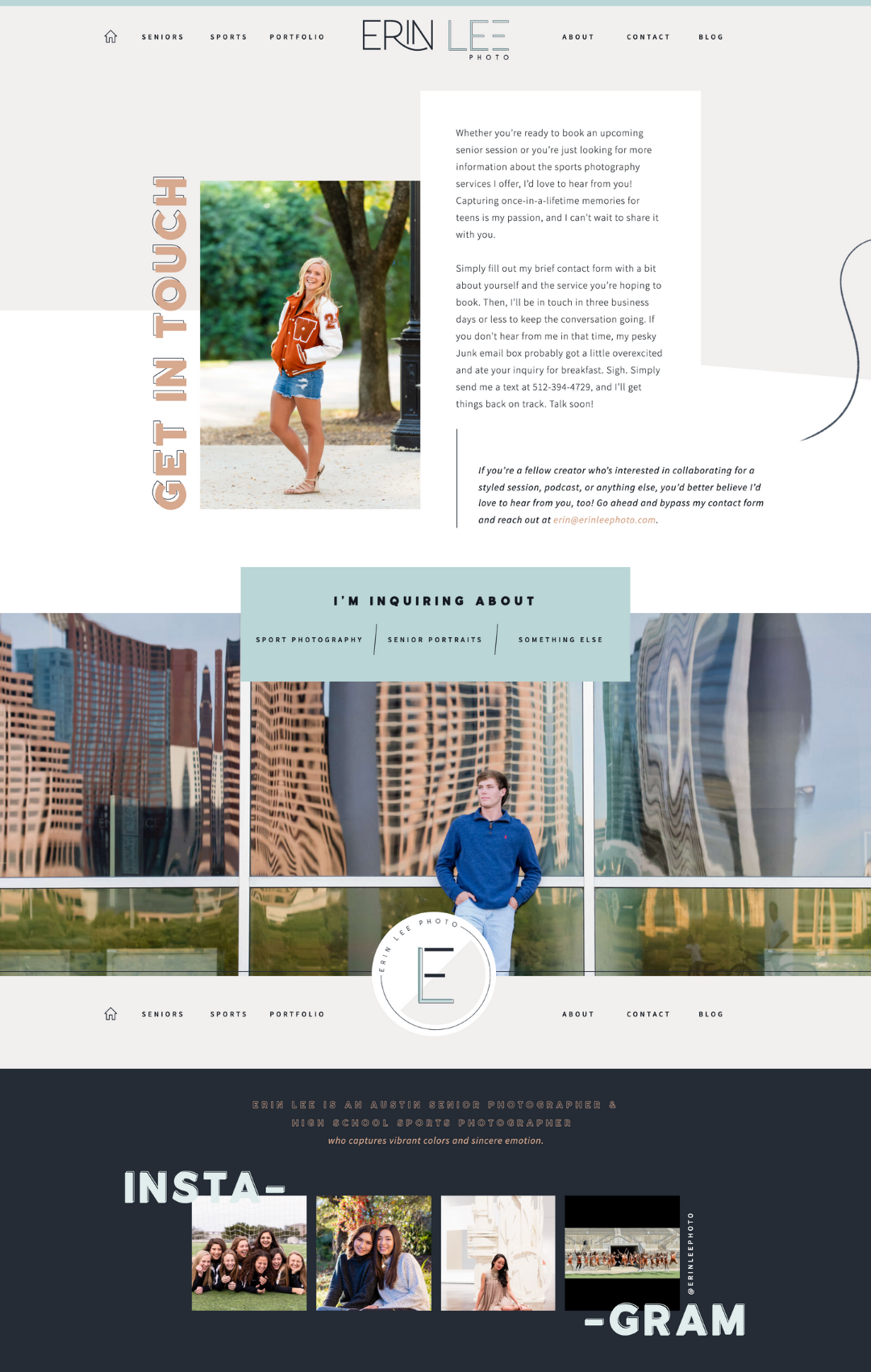 Preview of Erin Lee Photography's contact page